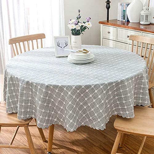 YCTZ Modern Tischdecke Gartentischdecke Rund Baumwolle Und Leinen Kreuzstich Bestickt,Embroidered karier - Blue Gray(Cut Edge), Durchmesser 160cm