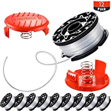 Mudder 12 Pieces Line String Trimmer Replacement Spool Include 10 Pack Replacement Spool (32.8 Ft 0.065 Inches) and 2 Pack Cap Replacement Autofeed Spool Compatible with Black and Decker AF-100