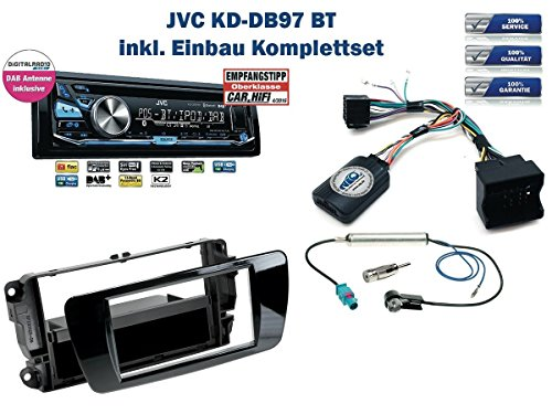 Seat Ibiza (6J) Autoradio Einbauset *Piano Schwarz* inkl. JVC KD-DB97BT (DAB+) und Lenkrad Fernbedienung Adapter
