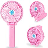Usb Mini Handventilator, Portable Handheld Fan mit LED Notlicht fur Jugendlichen, Madchen und Kinder im Sommer (Hell-Pink -1)