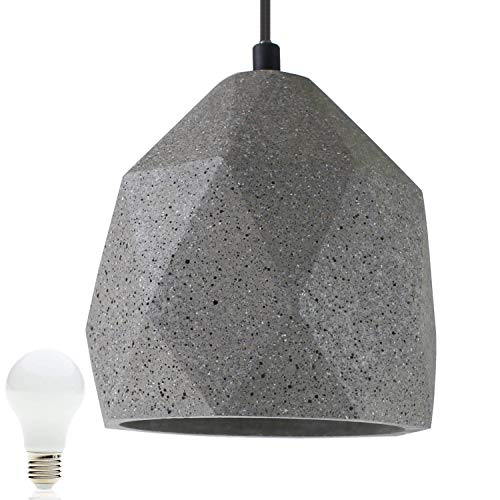Beton-Lampe Beton-Leuchte LED E27 Pendel-Lampe Hänge-Leuchte BOSTON (Farbe: Beton-Dunkel) Vintage Industrieleuchte Wohnzimmerlampe Modern Betonfassung mit Textilkabel inkl. 13W LED Warmweiss