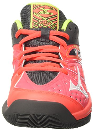 Mizuno Break Shot Ex Cc (W), Scarpe da Tennis Donna Multicolore (FieryCoral/White/SafetyYellow)