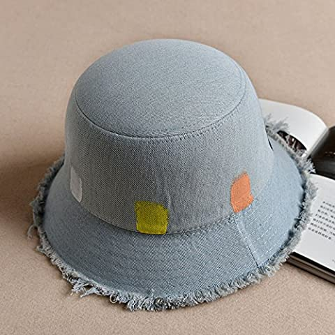 La mar¨¦e cor¨¦en femme p¨ºcheur Cap cap bassin cowboy hat art graffiti couleur bleu denim store pare-soleil pliable