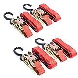 Diversity Wrap 4 Cinghie a cricchetto, 3 m x 25 mm, con Manico in Ferro e Doppio Gancio a S, 500 kg, Colore: Arancione