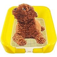 ZZ Cat litter Tray Bandeja del retrete del Perro, Entrenamiento plástico del Potty Interior del Perrito del Perro con la Cerca y el Uso Amarillo Amarillo pequeño del Animal doméstico