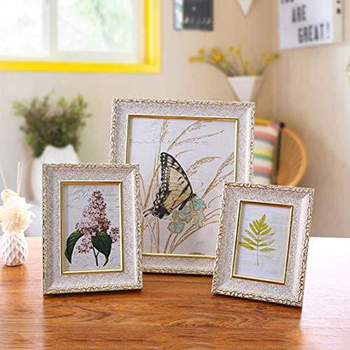 Familien Porträt Fotorahmen rustikaler Baum Holz Effekt doppeltes stehendes Glasfenster für Wand Ausgangs Tischplatten Dekoration Shabby Chic Farbe 20.24×15.16cm