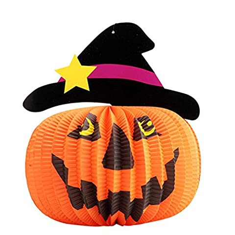 erthome Happy Halloween Party Pumpkin Lantern Toy Household Children Room Decor Paper Supplies (A)