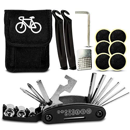 Loomiloo Fahrrad Werkzeugset Multitool 16-in-1 Werkzeuge für Fahrrad Reparatur und Outdoor | Praktisches Multifunktionswerkzeug und Notfallset mit 16 Tools & Tasche | für Reifen und Fahrrad