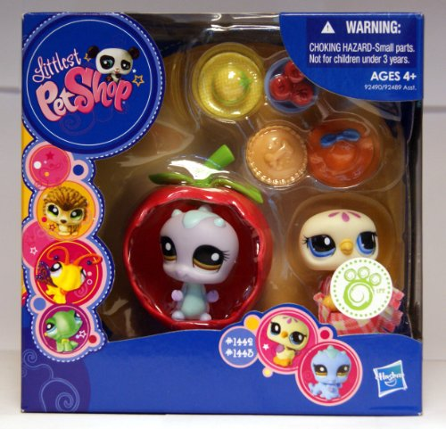 Littlest Pet Shop - Portable Pets - Gift-Set Box - 2Pack - Taube #1442 & Raupe #1443 - mit Apfel-Hülle & Zubehör - Shop-pet-sets Littlest Pet