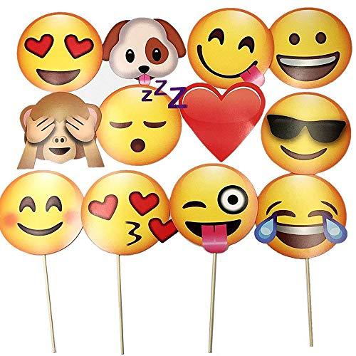12 Stück Emoji Foto Requisiten,Kreative Fotorequisiten und Fotoaccessoires, Bunte DIY lustige Stützen, Für Geburtstags-Parteien, Hochzeiten, Staffelungen und Festivals