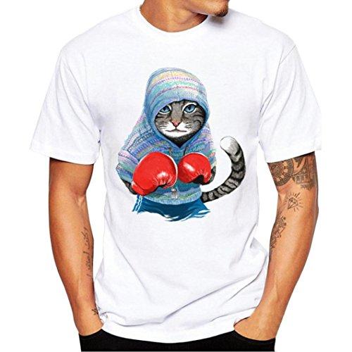❤️Tops Blouse Homme T-Shirt, Amlaiworld T-Shirt d'impression de Chat Chemisier Manches Courtes Hommes Sportwear Manteau (L, Blanc)