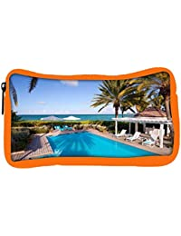 Snoogg Eco Friendly Canvas Swimming Pool Designer Student Pen Pencil Case Coin Purse Pouch Cosmetic Makeup Bag