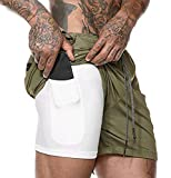 ASKSA Herren 2 in 1 Shorts Laufshorts Dual Kurze Sporthose Männer Fitness Laufhose Sport Hosen Trainingshose