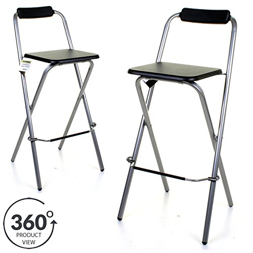 Marko Furniture Black Folding Wooden Bar Stool Chair Breakfast Kitchen Seating Silver Frame Seat Home