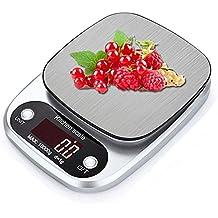 ROTIHYDA Báscula 10 kg / 1 g Cocina digital Escala de alimentos Plataforma de acero inoxidable