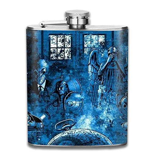 Stainless Steel Flask, Whiskey Flask Vodka Alcohol Flask Blue Green Colored Fish Scale Picture Portable Pocket Bottle, Bag Bottle, Camping Wine Bottle, Suitable For Men And Women 7oz - Personalisierte Boston Bag