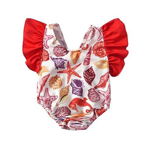 QTONGZHUANG Kinder Bademode Mädchen Big Flower Flying Sleeve Backless Big Bow Badeanzug Frauen Schatz Badeanzug, 90cm