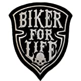 """Parche """"Biker for life"""" craneo"""