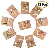 Kuuqa 12 Stück Handarbeit Retro Kraftpapier Dankeschön-Karten mit 12 Büttenpapier Blumen, 12 Aufkleber und Jute Twine