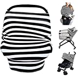 Multi-Use Nursing Cover Breastfeeding Cover Ups For Mom Stretchy Baby Carseat Canopy Stroller Cover (Black-Widestripes)