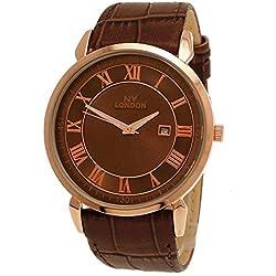 NY London designer Slim Herren Leder Armband Uhr Herrenuhr Braun Rose Gold mit Datum super flach inkl.Uhrenbox