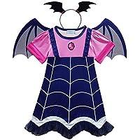 Angel ZYJ Vampirina Disfraces Infantil Niña Princesa Trajes de Halloween Cosplay Vestidos de Carnaval con Diadema y Alas de Murciélago para Niñas 2 a 8 Años (120-4-5 Años-)