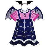 Angel ZYJ Vampirina Disfraces Infantil Niña Princesa Trajes de Halloween Cosplay Vestidos de Carnaval con Diadema y Alas de Murciélago para Niñas 2 a 8 Años (140-7-8 Años)