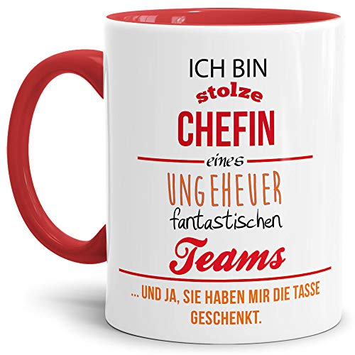 Tasse mit Spruch Chefin Innen und Henkel Rot - Kaffeetasse/Mug / Cup - Qualität Made in Germany