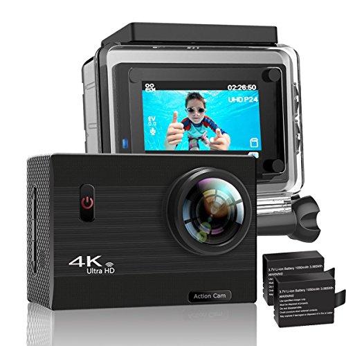 YDI G70 Wasserdicht Action Cam 4K 20MP Unterwasserkamera WIFI Action Kamera Gyro Anti-Schütteln Ultra HD Sport Helmkamera mit 2*1050mAh Batterien und Kostenlose Accessoires