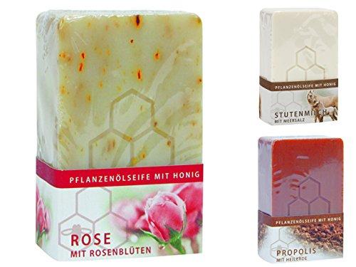 100g/3,30 EURO Bienen Diätic Honigseife 3-er TESTPAKET Rosen mit Rosenblüten 100g, Stutenmilch mit Meersalz 100g, Propolis mit Heilerde 100g