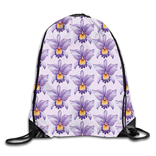 GONIESA Fashion New Drawstring Backpacks Bags Daypacks,Tropical Orchid Flowers Watercolor Style Hawaiian Nature Inspirations,5 Liter Capacity Adjustable for Sport Gym Traveling - Funny Flower Cut-outs