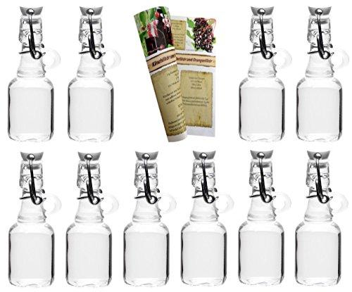 gouveo 48 Set Leere 40 ml Henkelflasche inkl. Bügelverschluss und 28-seitige Flaschendiscount-Rezeptbroschüre Flaschen Likörflaschen Schnapsflaschen Glasflaschen (Glas Lagerung-flaschen)