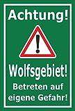 Schild - Achtung - Wolfs-gebiet - Betreten auf eigene Gefahr - 30x20cm mit Bohrlöchern | stabile 3mm starke Aluminiumverbundplatte – S00359-099-E +++ in 20 Varianten erhältlich