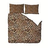 LAMPWF Juego de Ropa de Cama Patrón de Leopardo 3 Piezas Poliéster Microfibra Fundas edredon con 2 Fundas de Almohada Muy Suave Microfibra,1 x(140x200cm) + 2 x(50x75cm)