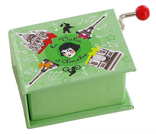 Caja de música / caja musical de manivela de cartón en forma de libro - El vals de Amélie Poulain - El fabuloso destino de Amélie Poulain (Yann Tiersen)