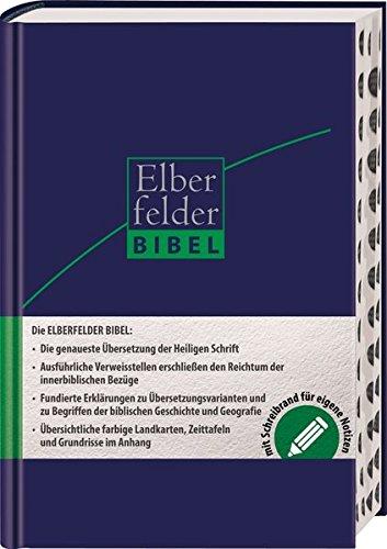 Elberfelder Bibel - mit Schreibrand und Griffregister, ital. Kunstleder dunkelbl