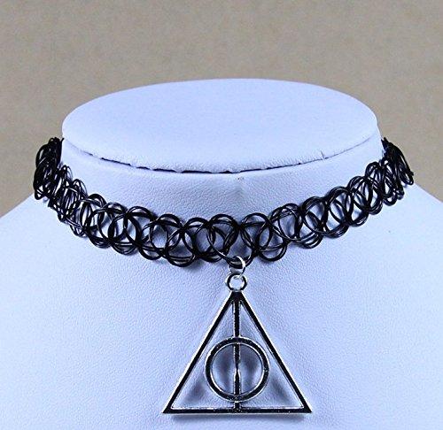 Danapp Trendy Stil Multi-Stil Angelschnur Tattoo Halskette (Dreieck Anhänger schwarz)