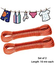 Tied Ribbons Set of 2 Clothesline 10 metres Each Rope PVC Coated Metal Drying Wire for Drying Clothes