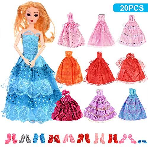 F 20 Stück Kleider Schuhe Abendkleid Set Ballkleid für Barbie Puppe Prinzessin Barbie Puppe(Ohne Puppe)