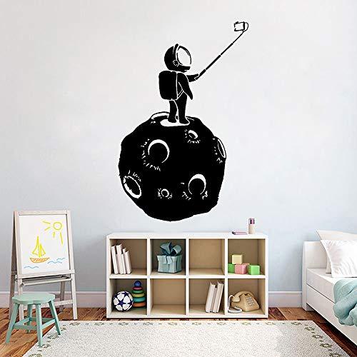 JXND Wandtattoo Vinyl Mond Astronaut Selfie Wandaufkleber Teen Kinderzimmer Dekoration Wasserdicht Kunstwand 87x57cm