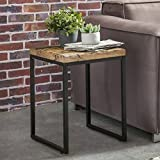 FineBuy Beistelltisch BALLARI 40 x 38 x 55 cm Massivholz Tisch mit Metallgestell | Industrie Design Couchtisch Eckig Modern Holztisch mit Metallbeinen | Loft Wohnzimmertisch Modern