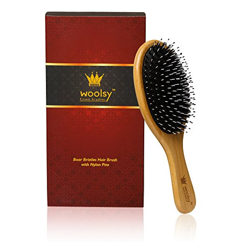 Woolsy Boar Bristle Hair Brush with 100% Bamboo Handle and Nylon Pins for Shiny for Men and Women