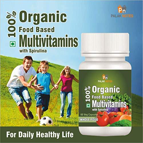 Palak Notes Whole Food Based ORGANIC Multivitamins with SPIRULINA & Superfoods : 60 Veg Capsules