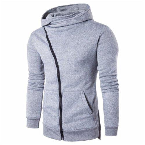 Herren Reißverschluss Kapuzenpullover Mantel Outwear Pullover Casual Shirt T-Shirts Tops (L, Grau) (Cord-a-line-top)