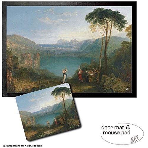 Set: 1 Fußmatte Türmatte (70x50 cm) + 1 Mauspad (23x19 cm) - Joseph William Turner, Avernus-See, Äneas Und Die Cumaeische Sibylle, 1798 Turner-set