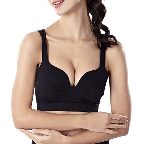 Zhhlinyuan Fashion Womens Push Up Sports Bras Workout Yoga Running Seamless Wire Free Fitness Bra Black