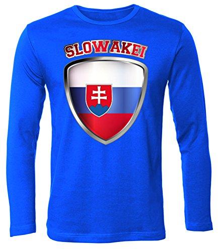 Slowakei Flagge T-shirt (Slowakei Fussball 4694 Fanshirt Fan Shirt Tshirt Fanartikel Artikel Männer Herren T-Shirts Longsleeve Langarm Blau L)