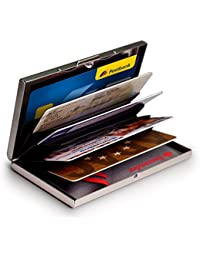 Mygadget Billetera de Aluminio con Bloqueo RFID NFC para Tajetas de Crédito Slim - Cartera Tarjetero de Metal con 6 Compartimientos para Hombre Mujer