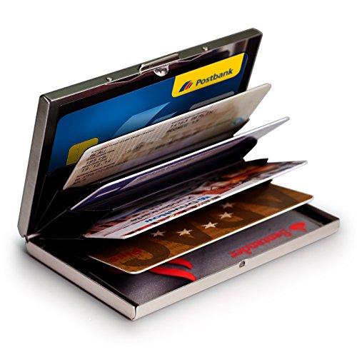FAQ ¿Cuántas tarjetas de crédito puede contener?Hasta un máximo de 6 tarjetas. ¿De qué material está hecho?Acero inoxidable.