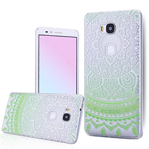 Custodia per Huawei Ascend Honor 5X , Huawei Honor 5X Cover Mandala Style Gomma TPU Gel Silicone Trasparente Cristallo Clear We Love Case Bumper Ultra Slim Protettiva Morbido - Girasole / Sunflower , Gradient Verde - Elegante Fascia Molle Del Silicone